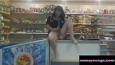 Russian Mature Masturbate in Shop
