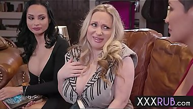 Three horny big tits lesbians massage in a threesome