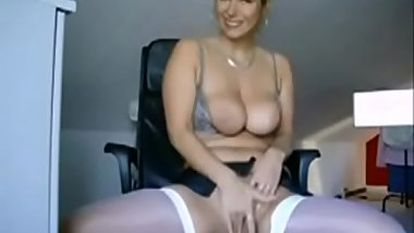 Beautiful office busty blonde in white stockings with sexy butt dance on webcam