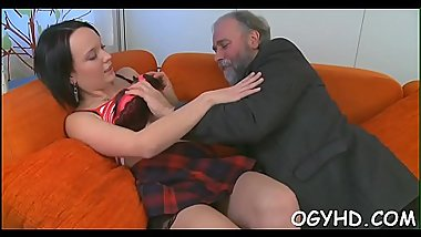 Hot juvenile babe team-fucked by old guy
