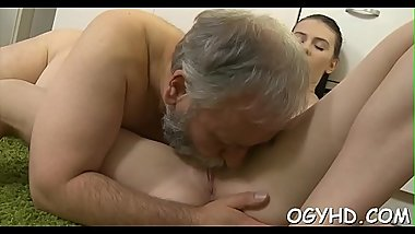 Young active angel blows old cock