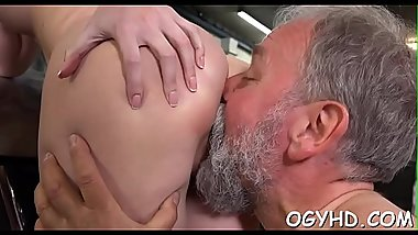 Nice juvenile babe licks old dick