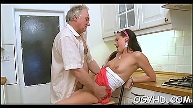 Olf fart fucks face hole of a young beauty
