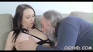 Cute juvenile gal fucked by old boy