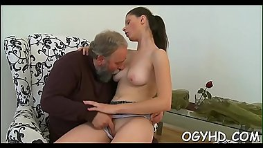 Teen chick experiences old cock