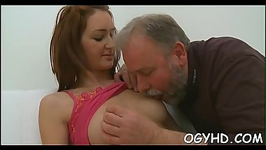 Nice young sweetheart licks old dick