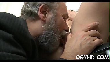 Horny young babe drilled by old lad