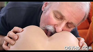 Teen babe experiences old pecker