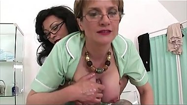 Busty mature nurses get pearl necklace