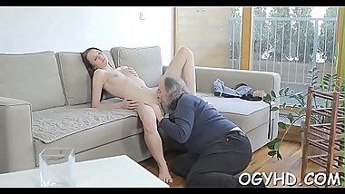 Hot young hottie banged by old lad