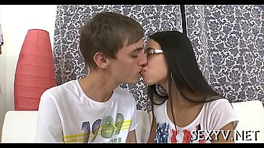 Mouth and pussy of a legal age teenager gangbanged
