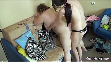 Fat old granny gets strapon fucked