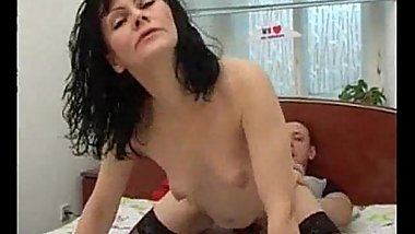 Skinny MILF with black stockings